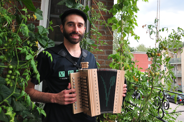 Stephane Groleau and his vegan accordion