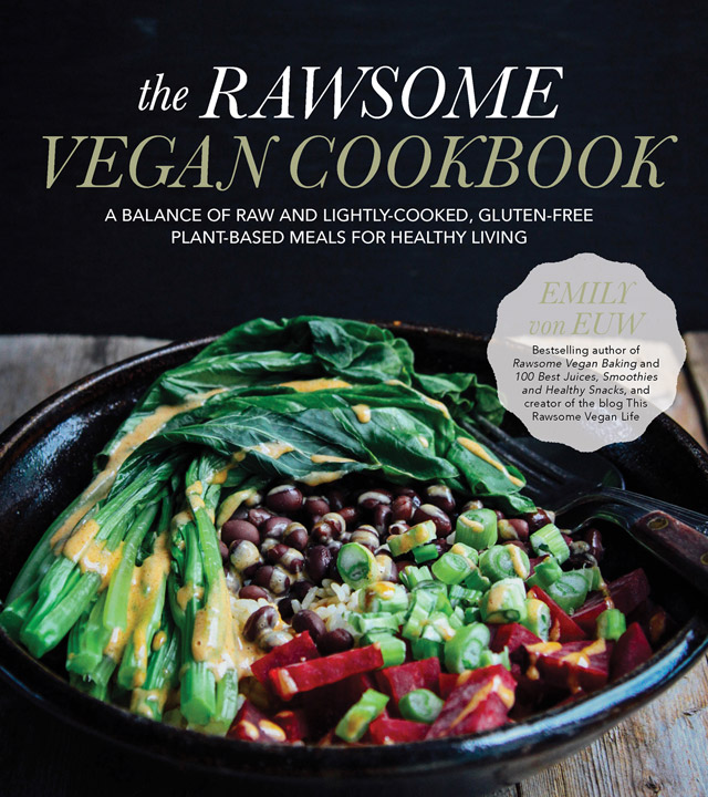 Cover for the Rawsome Vegan Cookbook by Emily von Euw