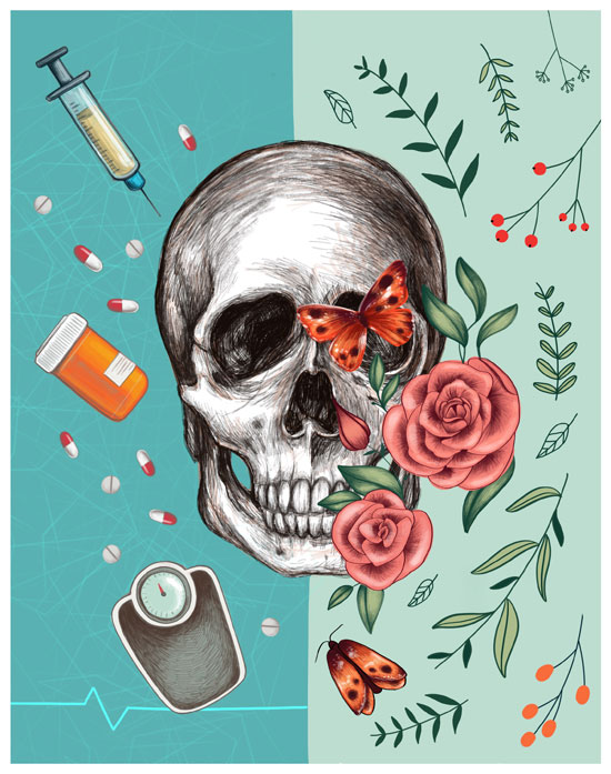Image contains a white skull with a series of plant leaves and flowers on the right-hand side. On the left, there are pills, a pill bottle, a syringe, and a weight scale.