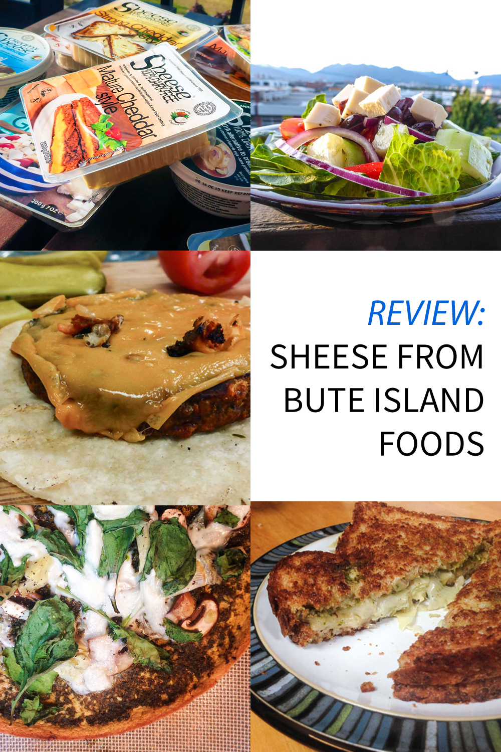 "Image contains a grid of photos involving a vegan cheese product called Sheese. In the centred right block, there is text that says ""Review: Sheese from Bute Island Foods""."