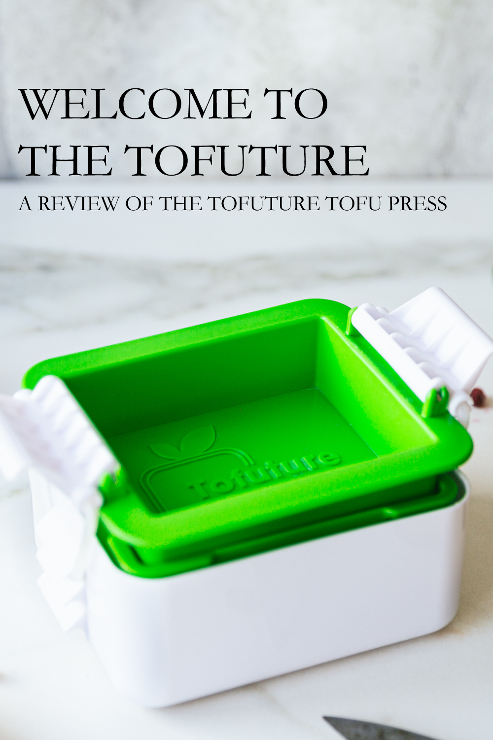 Tofuture tofu press with fruits and vegetables scattered around it.